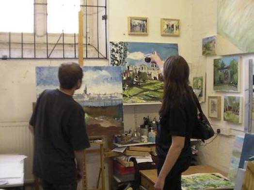 Joel and my friend Hayley Felton having a bit of artist time in his studio