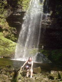Pearl at the Henrhyd Waterfall in the Brecon Beacons National Park  on a sunny May Bank Holiday (2009)